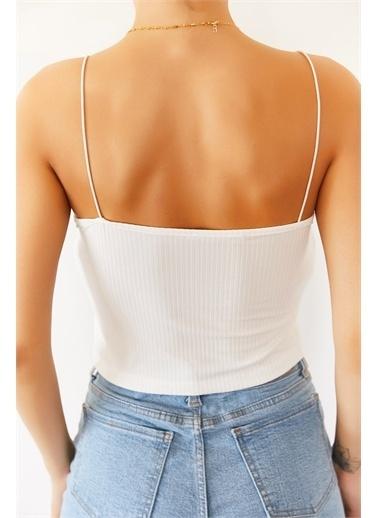 XHAN Siyah Askılı Kaşkorse Bluz 1Kxk2-44682-02 Beyaz